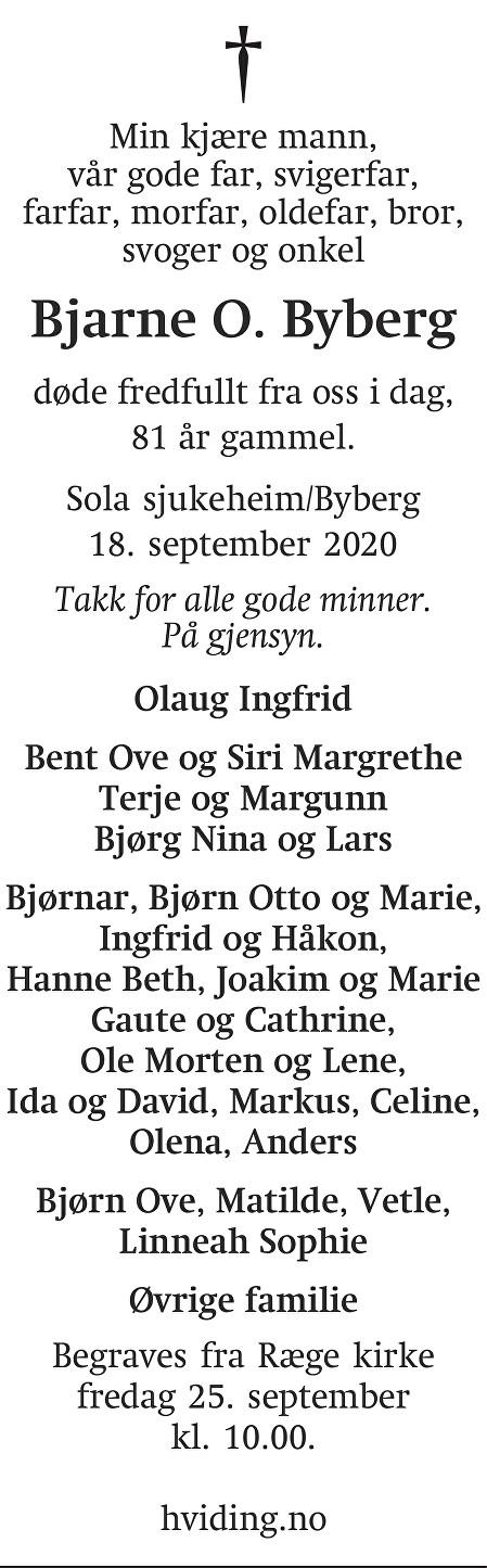 Bjarne O. Byberg Dødsannonse