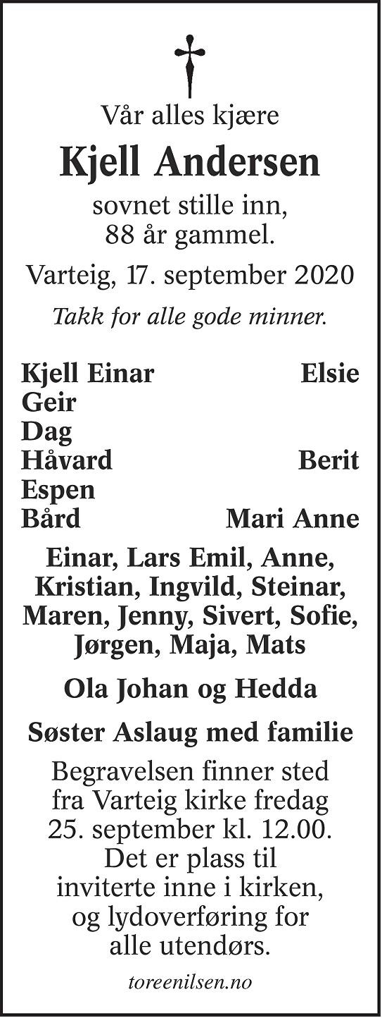 Kjell Andersen Dødsannonse