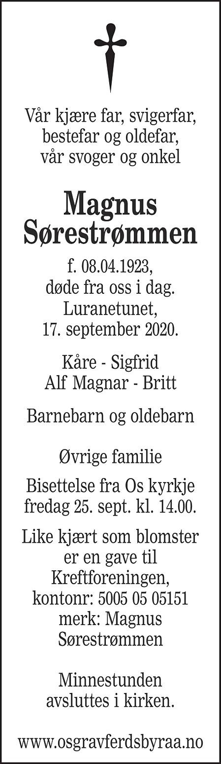 Magnus Sørestrømmen Dødsannonse