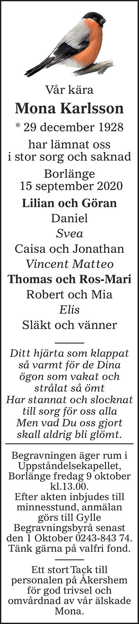 Mona Karlsson Death notice