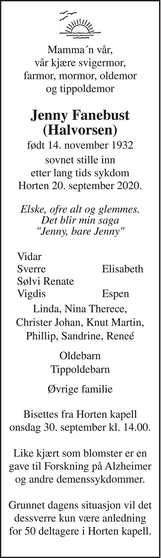 Jenny Fanebust Dødsannonse