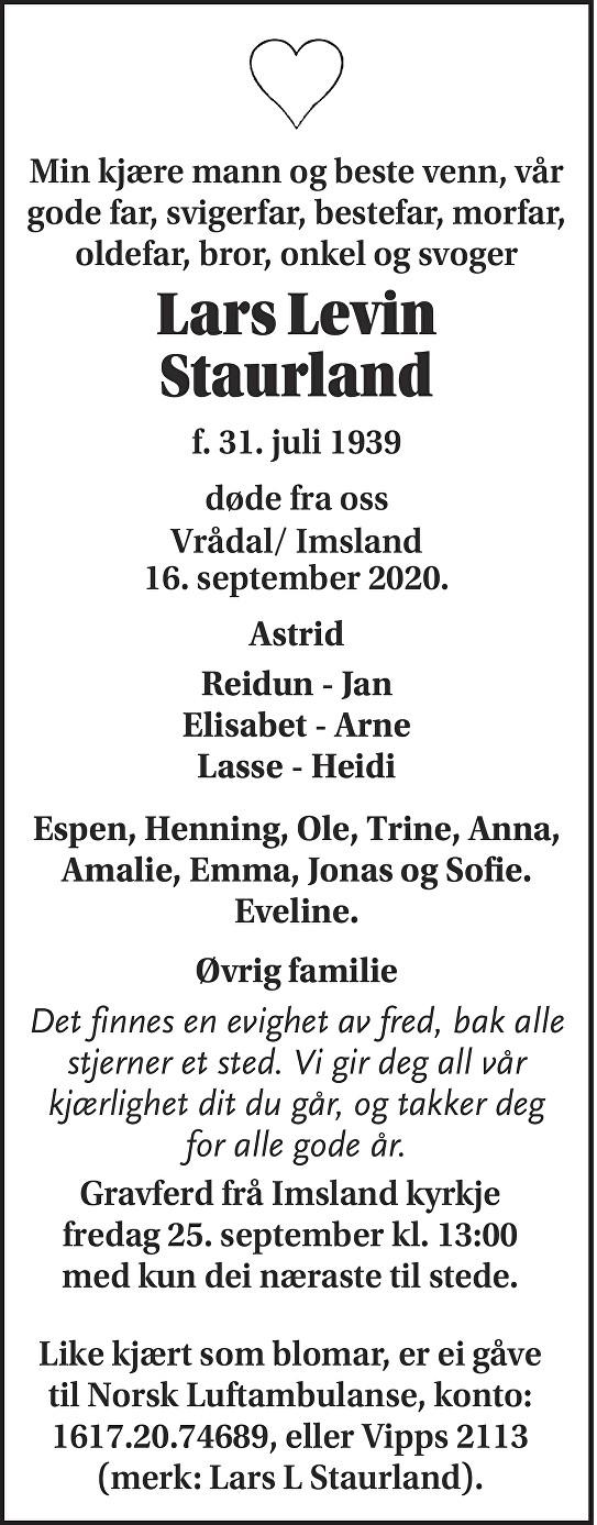 Lars Levin Staurland Dødsannonse