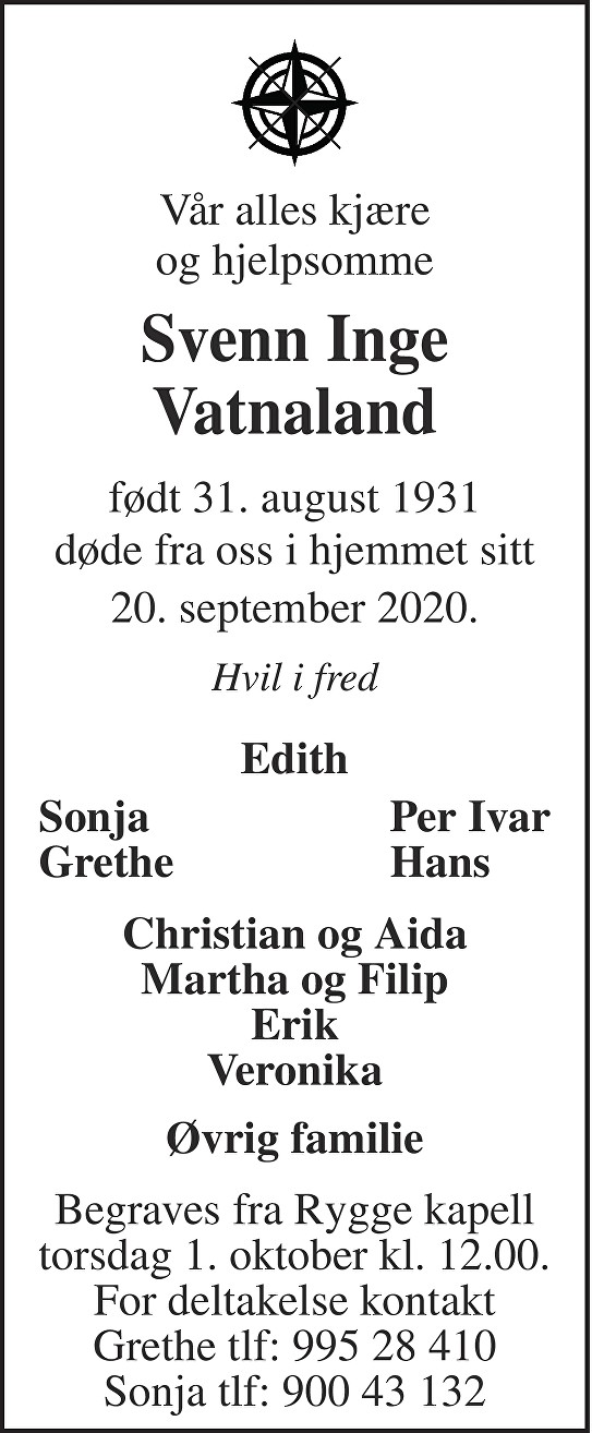 Svenn Inge Vatnaland Dødsannonse