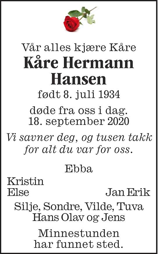 Kåre Hermann Hansen Dødsannonse