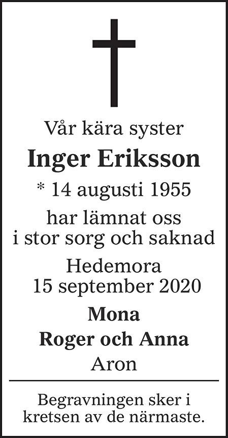 Inger Eriksson Death notice