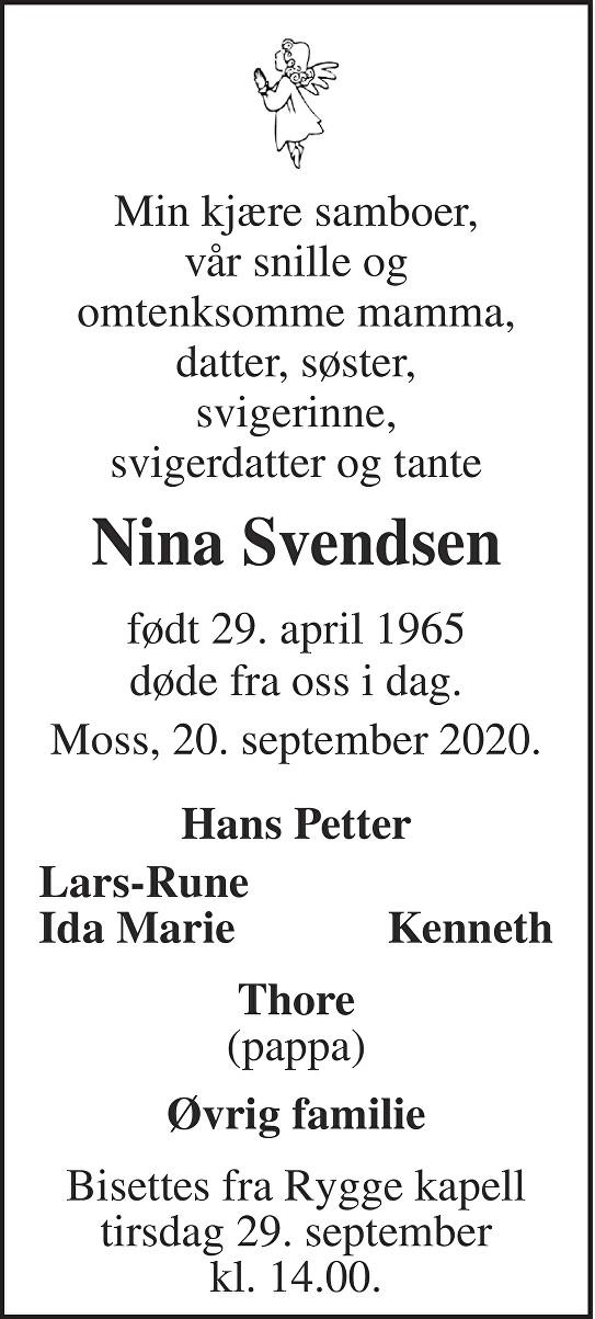 Nina Svendsen Dødsannonse