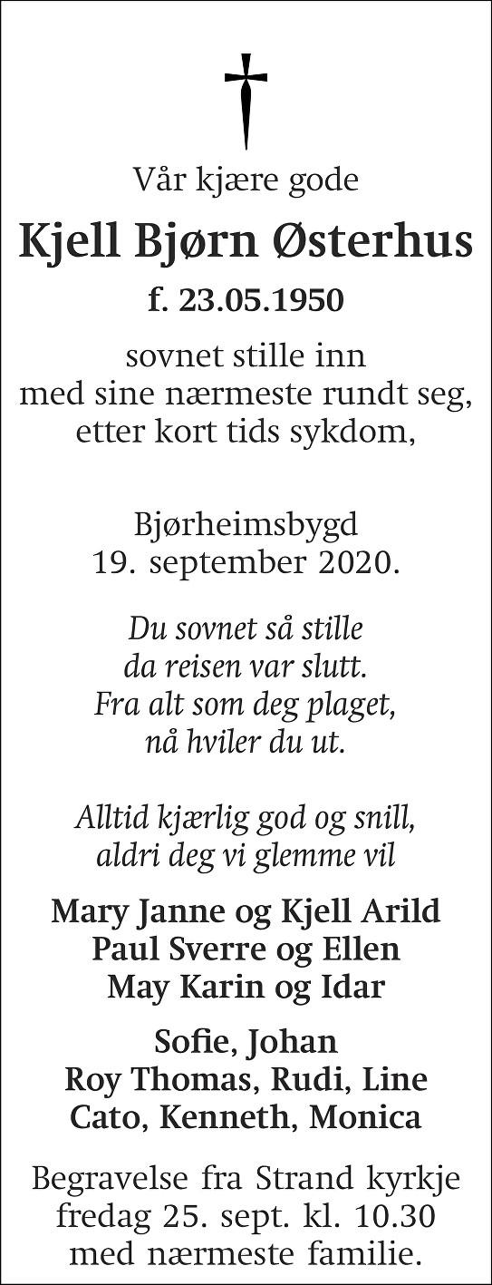 Kjell Bjørn Østerhus Dødsannonse
