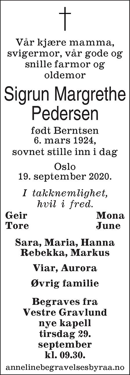 Sigrun Margrethe Pedersen Dødsannonse