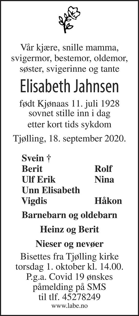 Elisabeth Jahnsen Dødsannonse