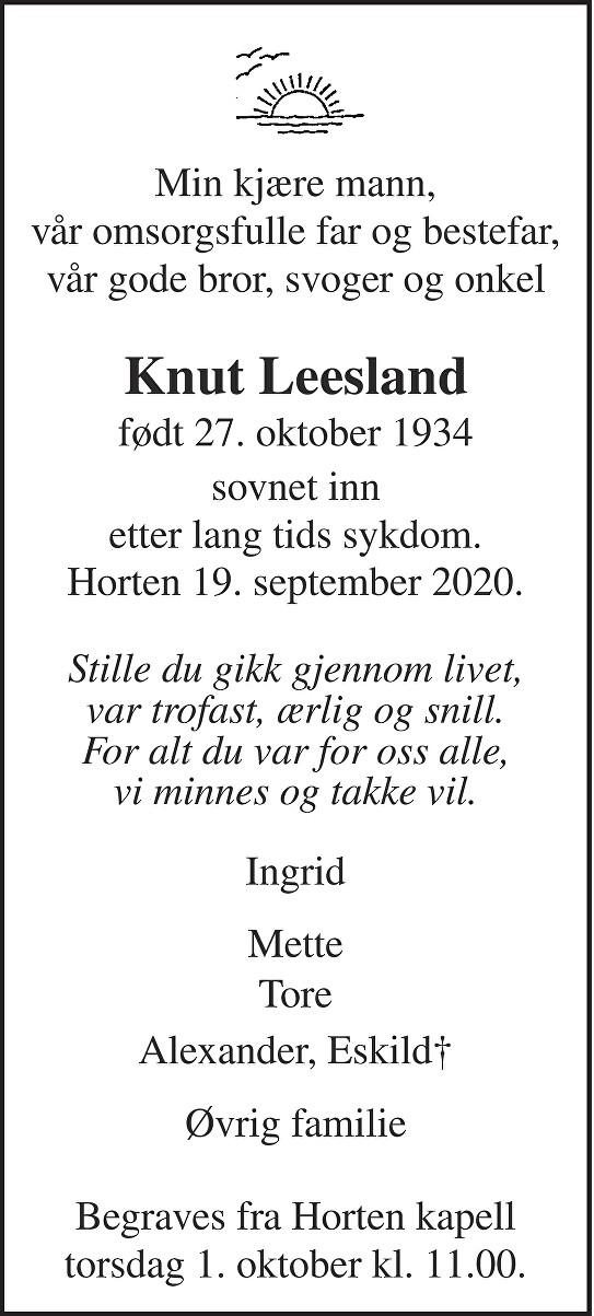 Knut Leesland Dødsannonse