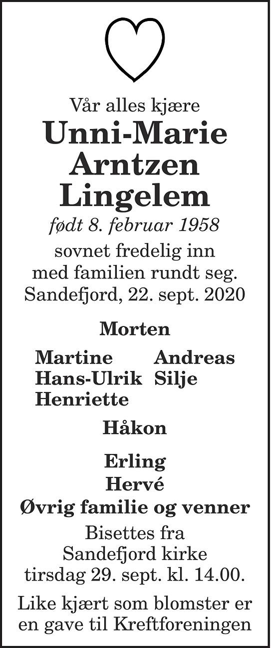 Unni-Marie Arntzen Lingelem Dødsannonse
