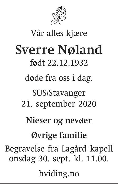 Sverre Nøland Dødsannonse