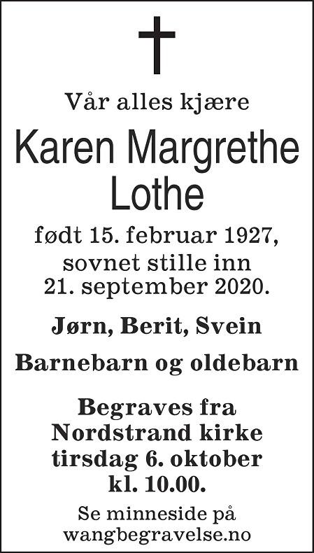 Karen Margrethe Lothe Dødsannonse