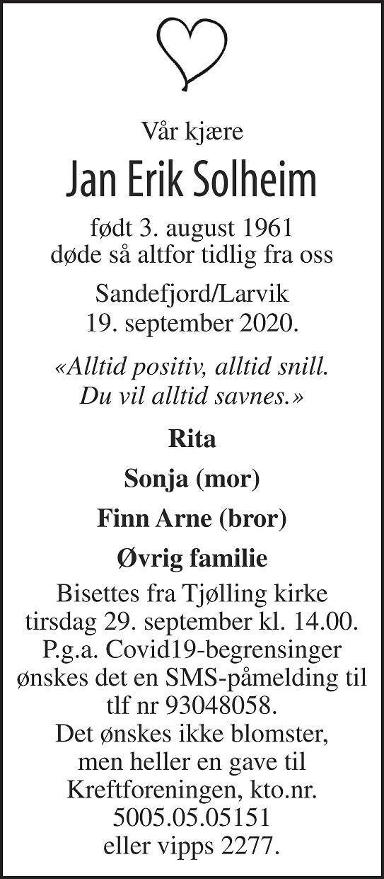 Jan Erik Solheim Dødsannonse