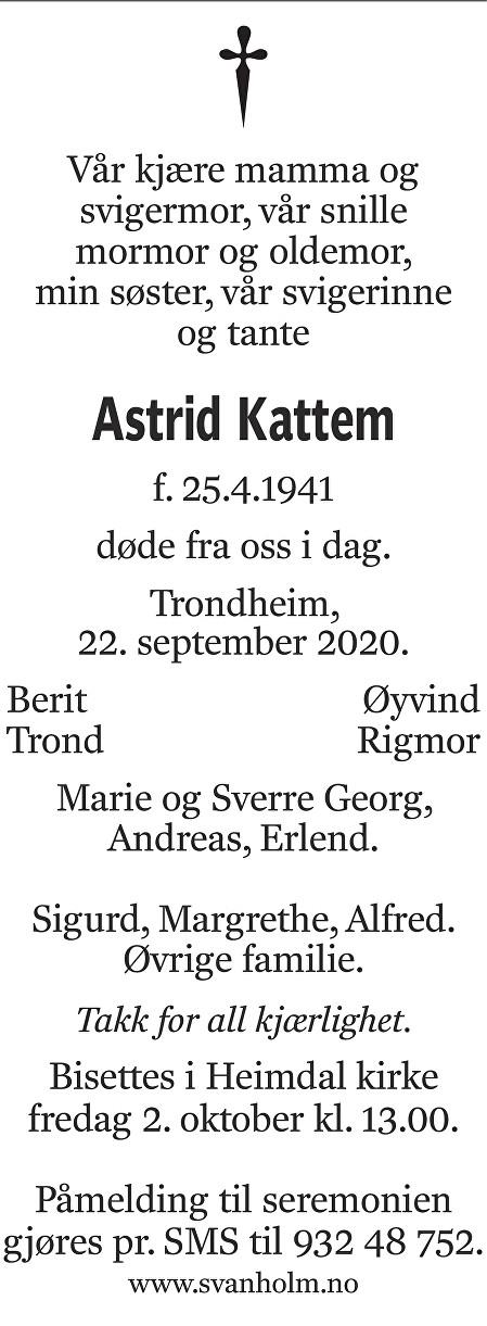 Astrid Kattem Dødsannonse