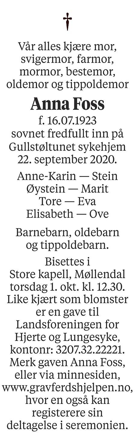 Anna Foss Dødsannonse