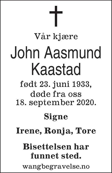 John Aasmund Kaastad Dødsannonse
