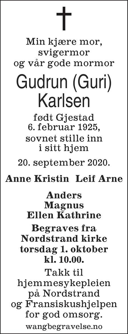 Gudrun Karlsen Dødsannonse