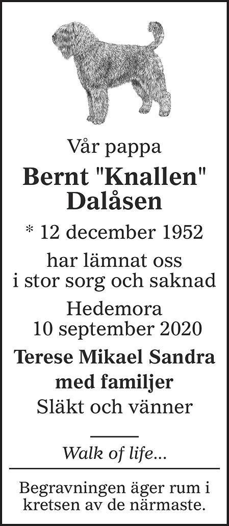Bernt  Dalåsen Death notice