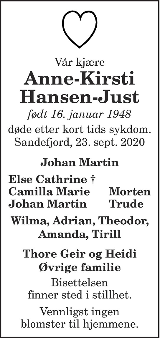 Anne-Kirsti Hansen-Just Dødsannonse