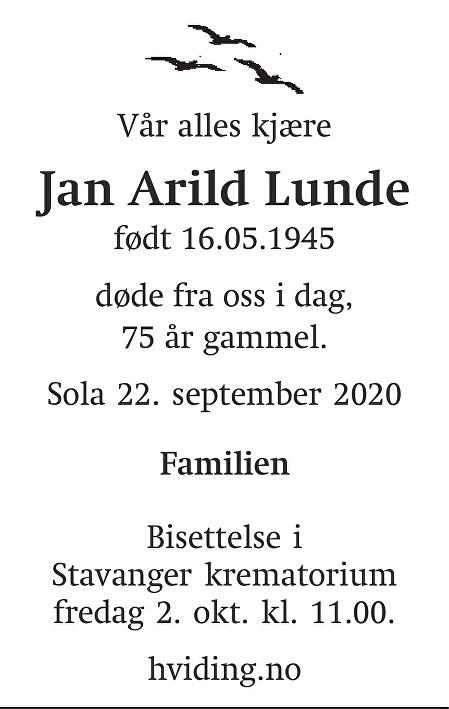 Jan Arild Lunde Dødsannonse