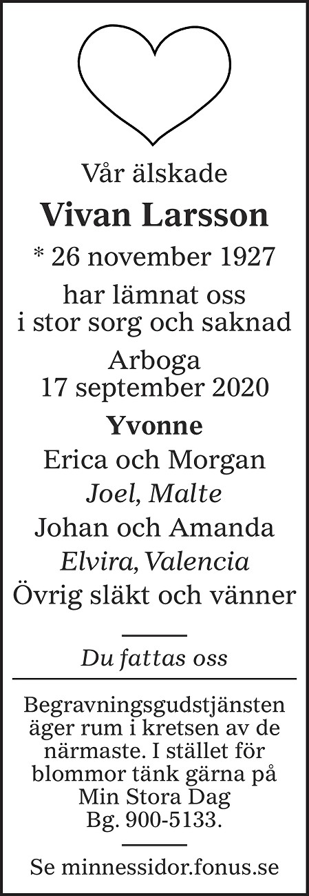 Vivan Larsson Death notice
