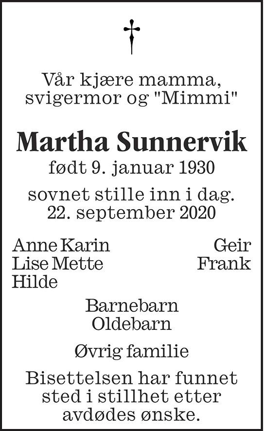 Martha Sunnervik Dødsannonse