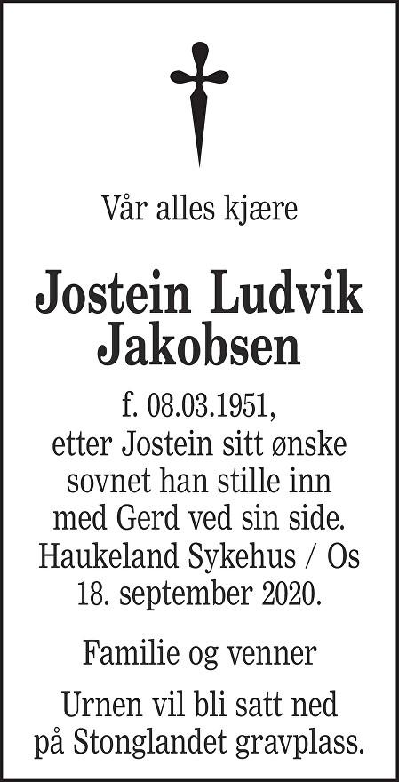Jostein Ludvik Jakobsen Dødsannonse