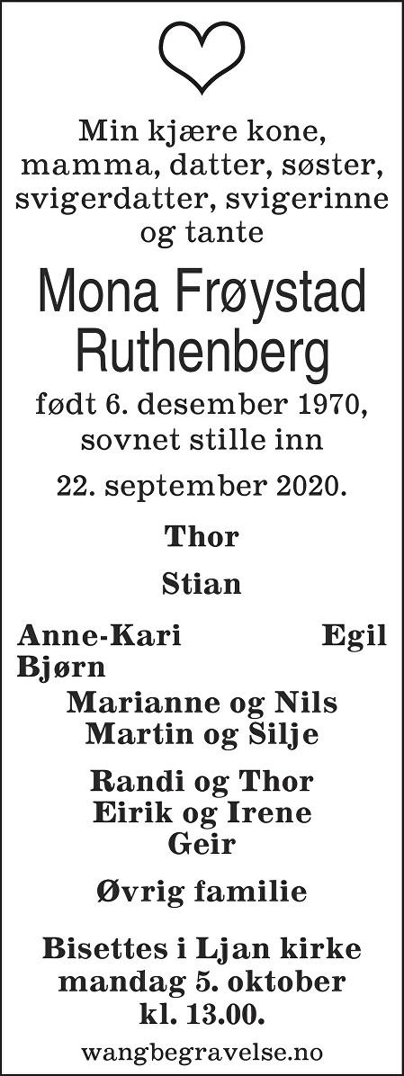 Mona Ruthenberg Dødsannonse