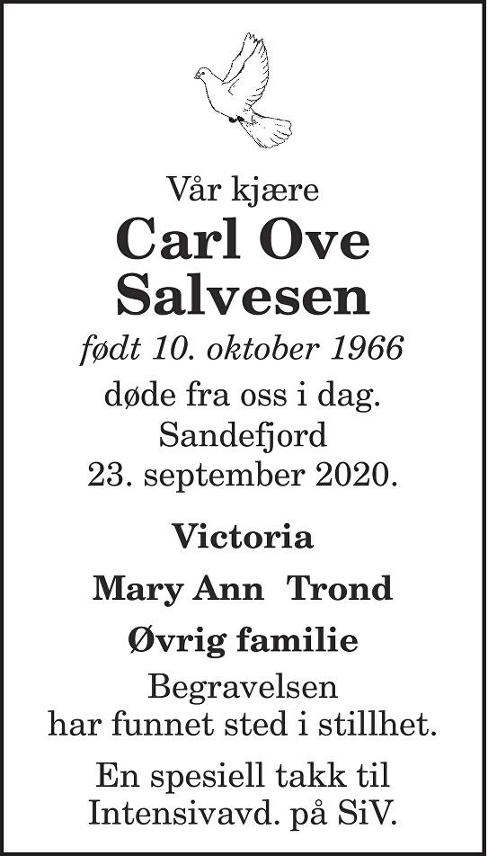 Carl Ove Salvesen Dødsannonse