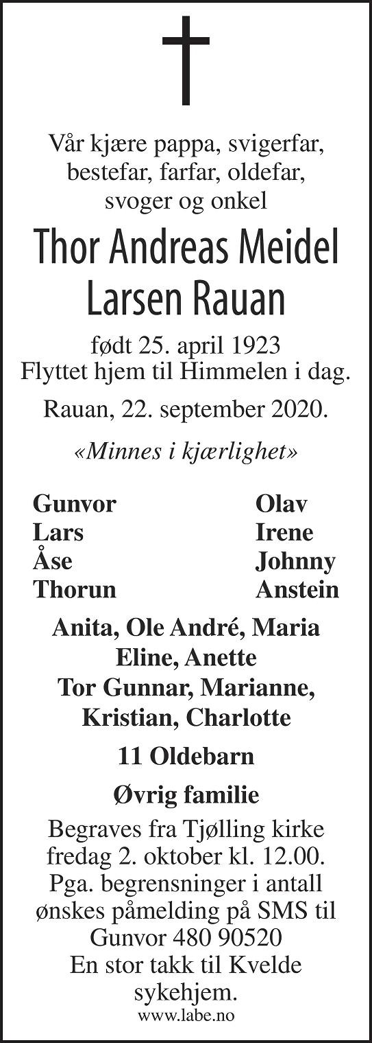 Thor Andreas Meidel Larsen Rauan Dødsannonse