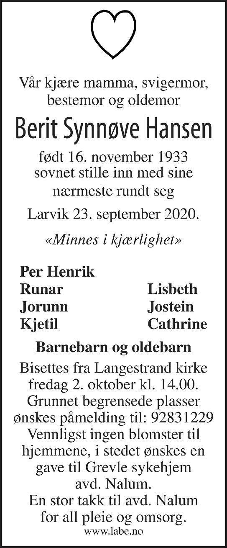 Berit Synnøve Hansen Dødsannonse