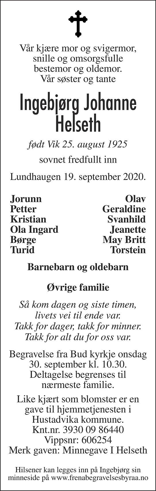 Ingebjørg Johanne Helseth Dødsannonse