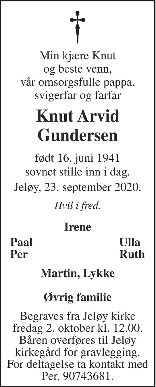 Knut Arvid Gundersen Dødsannonse