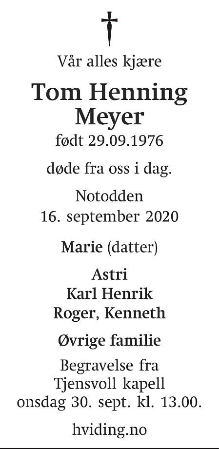 Tom Henning Meyer Dødsannonse