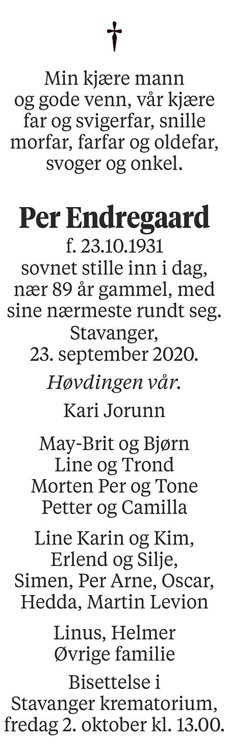 Per Endregaard Dødsannonse