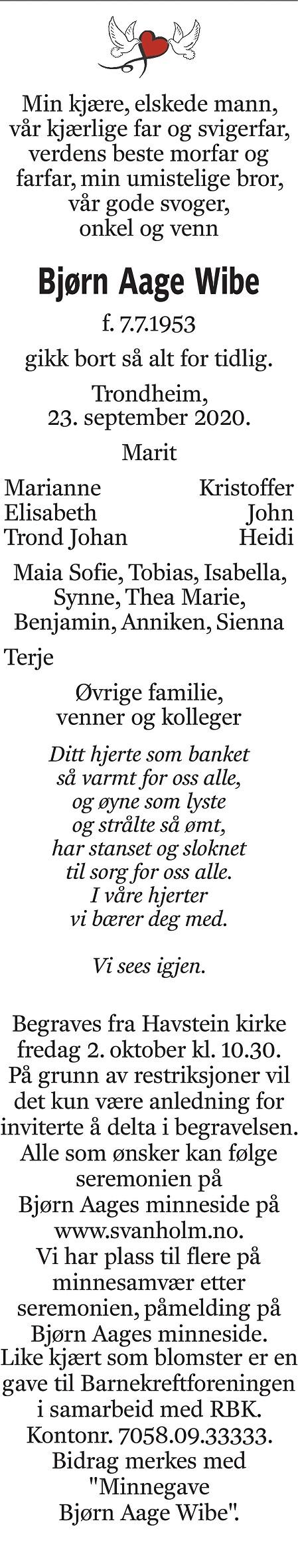 Bjørn Aage Wibe Dødsannonse