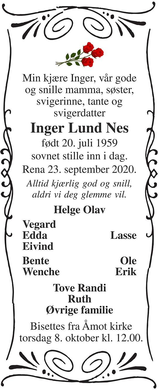 Inger Lund Nes Dødsannonse