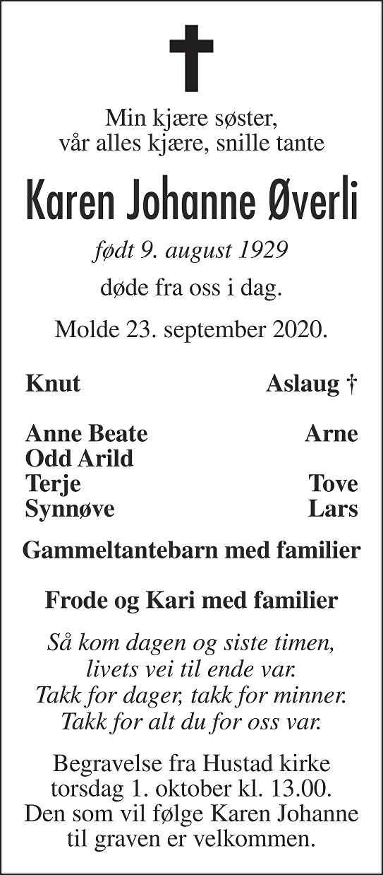 Karen Johanne Øverli Dødsannonse