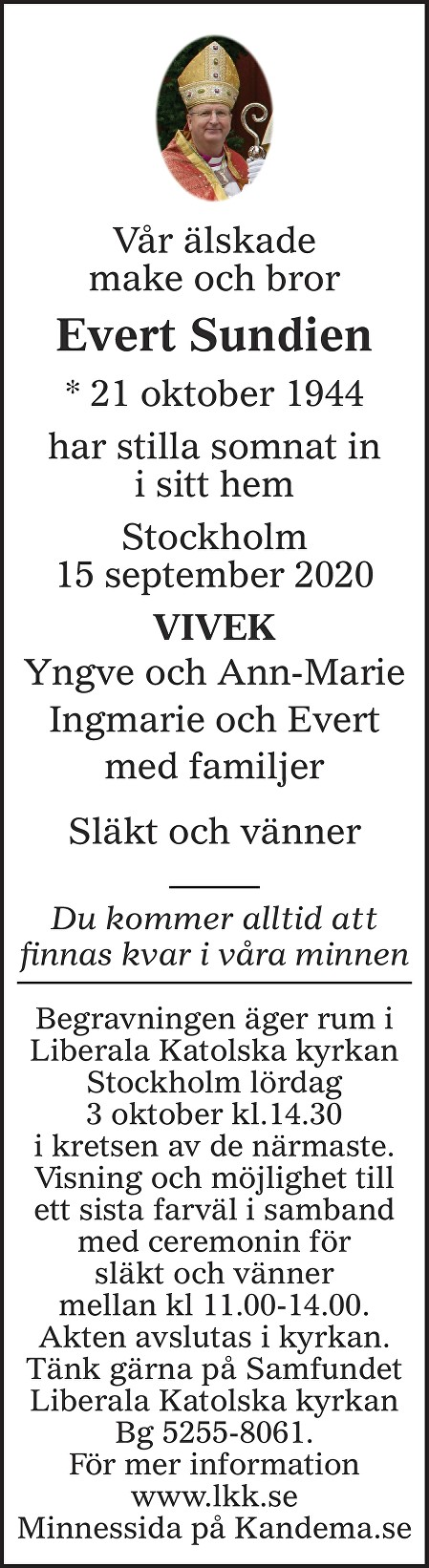 Evert Sundien Death notice