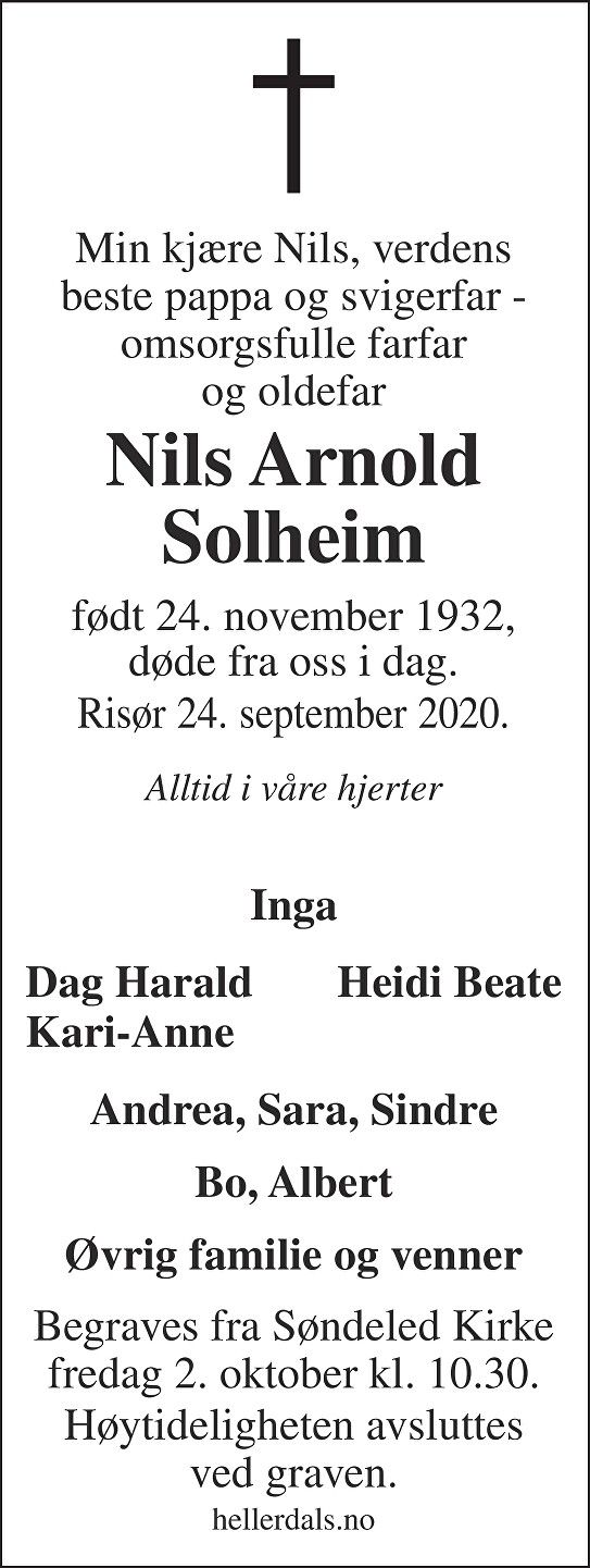 Nils Arnold Solheim Dødsannonse