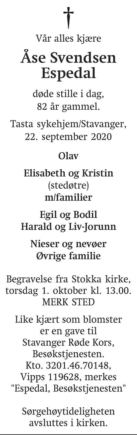 Åse  Svendsen Espedal Dødsannonse
