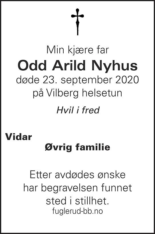 Odd Arild Nyhus Dødsannonse