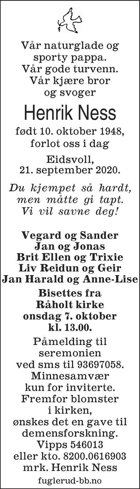 Henrik Ness Dødsannonse