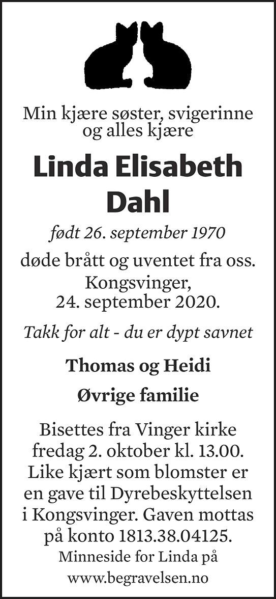 Linda Elisabeth Dahl Dødsannonse