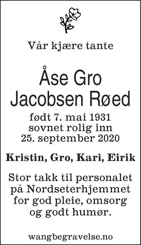 Åse Gro Røed Dødsannonse