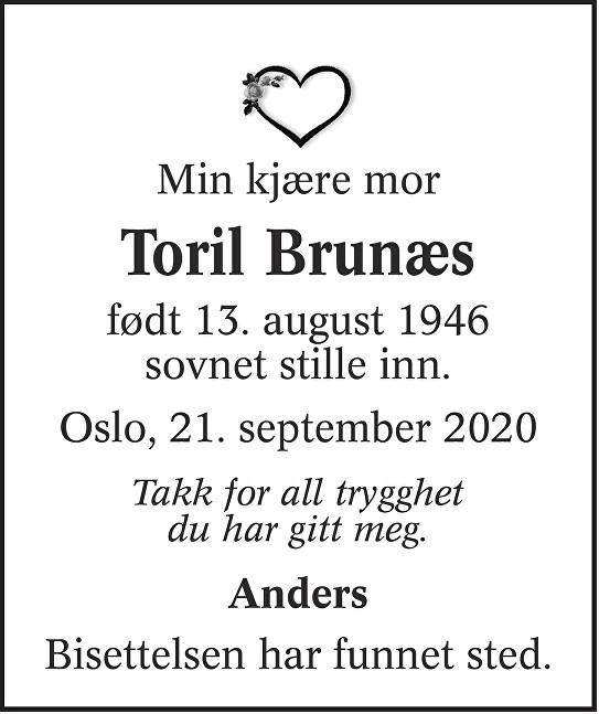 Toril Brunæs Dødsannonse