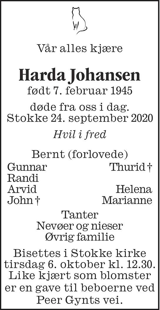 Harda Johansen Dødsannonse