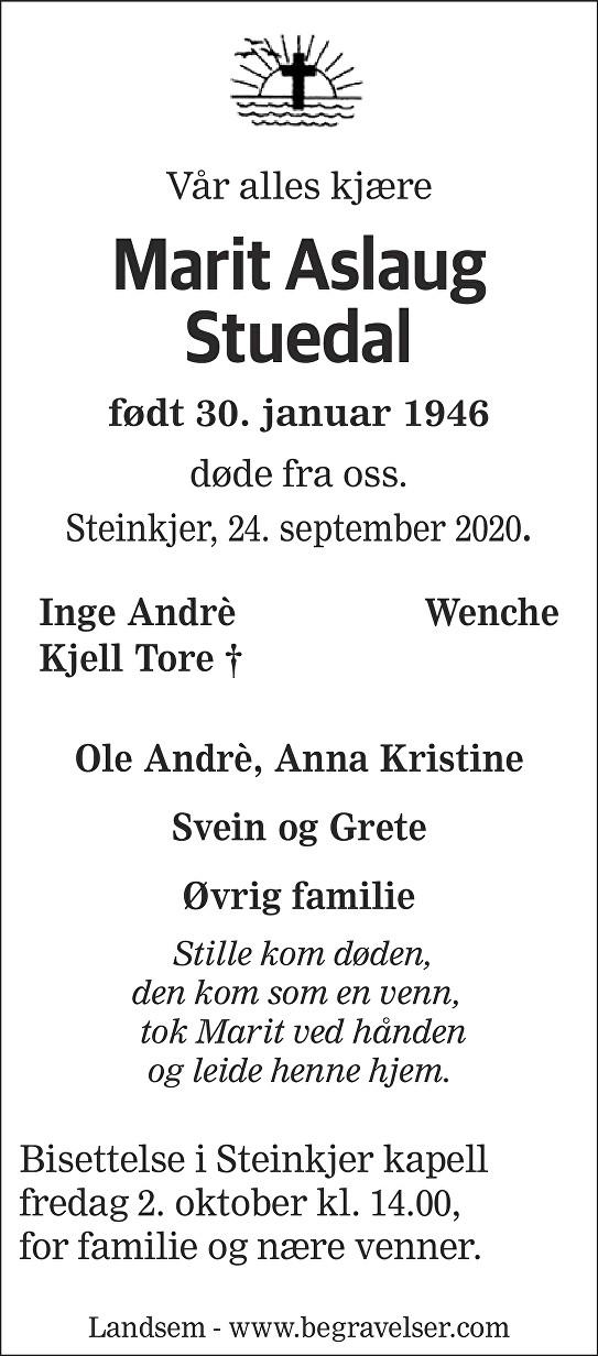 Marit Aslaug Stuedal Dødsannonse