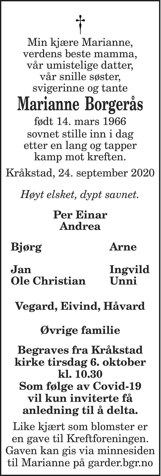 Marianne Borgerås Dødsannonse